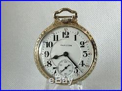 1948 Hamilton 992B Railroad Pocket Watch 21j. BOC 10K Gold Filled Case