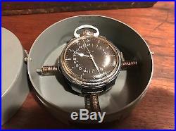 1950 Hamilton GCT 22j WWII 4992B Military Navy Army Pocket Watch Navigation Case