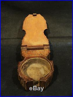 19th C. NOVELTY GERMAN BLACK FOREST WOODEN POCKET WATCH HOLDER / DISPLAY CASE