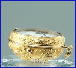 20k gold Pair case Repousse verge pocket watch Brown London 1725