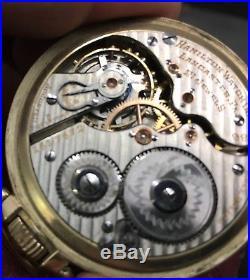 21 Jewel Hamilton 992 Rail Road Pocket Watch runs 10k rolled gold star case