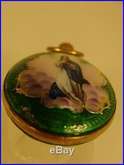 3590 Pocket Case Vermell Enamel Titania Rose Verge Maria Circa 1900 Spain