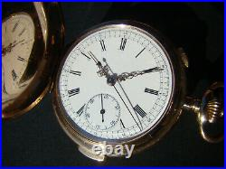 ANTIQUE 14k SOLID GOLD HUNTER CASE QUARTER REPEATER CHRONOGRAPH POCKET WATCH