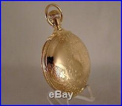 ANTIQUE ELGIN 10k GOLD FILLED BOX HINGE HUNTER CASE FANCY DIAL18s POCKET WATCH