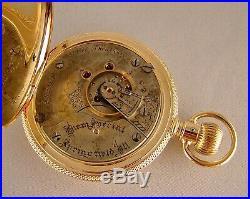 ANTIQUE ILLINOIS BUNN SPECIAL 21j 14k SOLID GOLD HUNTER CASE 18s POCKET WATCH