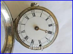 ANTIQUE VERGE FUSEE CONSULAR SILVER CASE POCKET WATCH BY THO MAYLARD LONDON