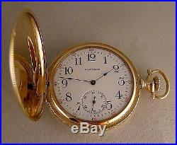 ANTIQUE WALTHAM 14k SOLID GOLD HUNTER CASE GREAT LOOKING POCKET WATCH YEAR 1917