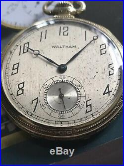 ANTIQUE WALTHAM POCKET WATCH 17jewels Gold Filled Rare Case And Dial