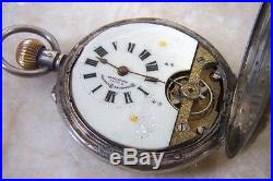 A SILVER HUNTER CASED HEBDOMAS 8 DAY POCKET WATCH c. 1912 FOR REPAIR