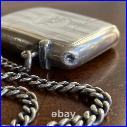 A Smart Antique Silver Pocket Watch Chain, With A Hallmarked Fob And Vesta Case