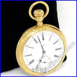 A. Stowell & Co. High-Grade Swiss Movement Pocket Watch 18k Gold Open Face Case