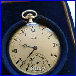 A Stunning & Rare Vintage 1930's Mens Rolex Pocket Watch Solid Silver Gwo Cased