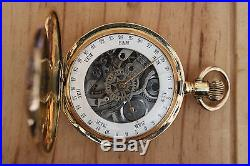 An Unusual Double Dialled Full Hunting Gold 14 Cased Calendar Pocket Watch