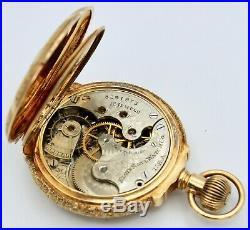 Antique 14K Tri Color Gold Elgin Pocket Watch Hunter Case 15 Jewel 6s