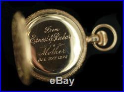 Antique 14k Gold Hampden 17+ Jewel Full Hunter Case Pocket Watch Clean Serviced