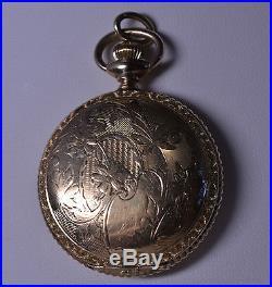 Antique 14k Gold-filled Ladies Waltham Pocket Watch Pendant Engraved Hunter Case