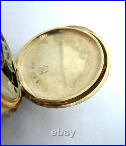Antique 14k Solid Gold Hunter Case 6s Pocket Watch Serviced 62 grams 40mm