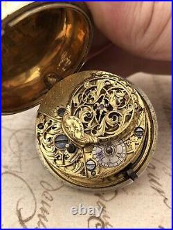 Antique 1758 Georgian 18th Century Verge Fusee Pair Cased Cased Pocket Watch