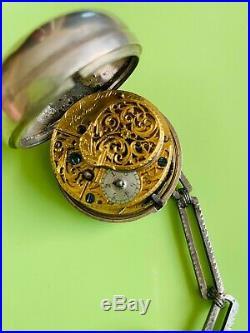 Antique 1781 William Trell Verge Fusee Pocket Watch Pair Case Run