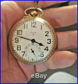 Antique 17 Jewel Pocket Watch 1940's Elgin 574 Works, Railroad Style Case GF Sz16
