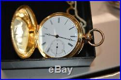Antique 1850s Breitling Laederich 18K Gold Hunter Case Pocket Watch Full Service