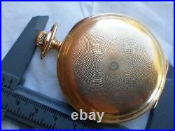Antique 1890 14k solid yellow gold full hunter's case waltham pocket watch
