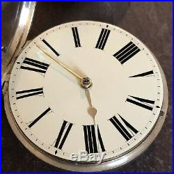 Antique 1897 Large Pair Case Silver Verge Fusee Pocket Watch Fine Quality 3oz