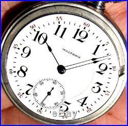 Antique 18 Sz 21 Jewel Salesman Display Case Pocket Watch Waltham 845 Working