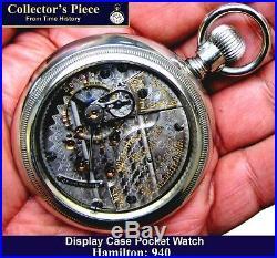 Antique 18 size 21 Jewel Display Case Railroad Pocket Watch Hamilton 940 Works