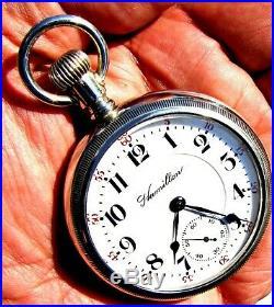 Antique 18 sz 21 Jewel Salesman Display Case Railroad Pocket Watch Hamilton 940