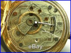 Antique 18s B. W Raymond 17j high grade pocket watch. Gold filled case. Made 1897