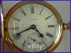 Antique 18s Waltham Vanguard 23 jewel Hunter case 18s pocket watch. Gold filled