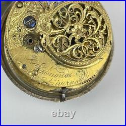 Antique 18thC Verge Pocket Watch D Edmonds Liverpool 4.3cm A/F Silver Cased