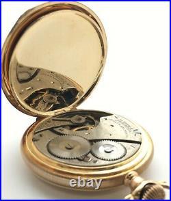 Antique 1905 Waltham Grade 610 7J Pocket Watch 16s 14k Solid Gold Hunter Case