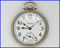 Antique 1916 Hamilton 16s 19j Adj. 996 with RARE Double Hour Hand & Railroad Case