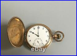 Antique 1920s Swiss Syren Full Hunter in Gold Plated Case Pocket Watch
