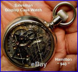 Antique 21 Jewel 18 Size Salesman Display Case Pocket Watch Hamilton 940 Works