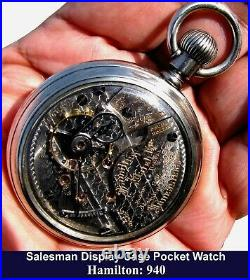 Antique 21 Jewels 18 Size Display Case Pocket Watch Hamilton 940 Working Perfect