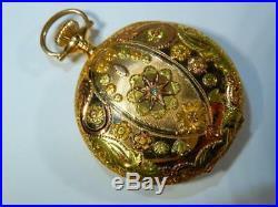Antique 3 color 14K gold Elgin pocket watch Hunter case 52151 works 21468290