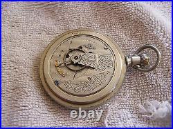 Antique American Waltham 17 Jewels Pocket Watch Silveroid Case Lever Set