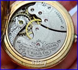 Antique American Waltham GF Pocket Watch Ornate Hunter Case Wind-up Runs