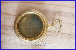Antique Art Nouveau Beuatiful Enamel Gilded pocket watch case Parts or Repair