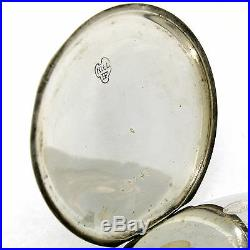 Antique Art Nouveau La Rochette Pocket Watch In. 875 Silver & Black Enamel Case