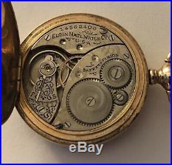 Antique Elgin 0s 7j Pw Ps Gold Filled Hunter Case Pocket Watch