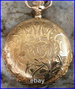 Antique Elgin 14k Gold Filled 25 Year Case Model 4 15j Grade 96 Pocket Watch lad