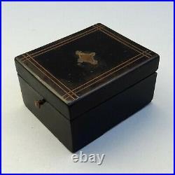 Antique French Ladies Pocket Watch Display Box Inlaid Brass Ebonised Wood Case