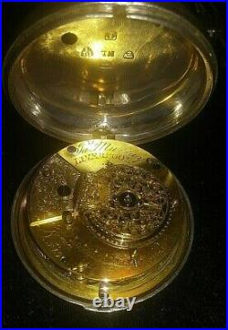 Antique Fusee Sterling Silver Pocket Watch JA Murray Liverpool, Pair Case