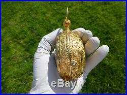 Antique German Gold Gilt Case 7 Jewels 8 Day Alarm Big Pocket Watch Size Clock