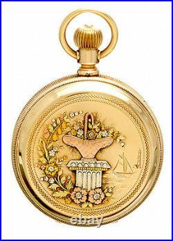 Antique Gold Elgin Pocket Watch C1894 14k Multicolor Gold Hunter Drum Case