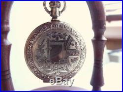 Antique Gold Fill Full Hunter Elgin Fob Pocket Watch Ornate Case 1900